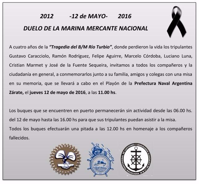 Cuarto Aniversario del hundimiento del B/M Río Turbio